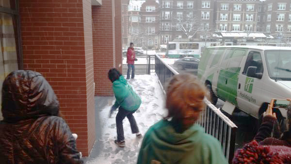 Snowball fight in Boston
