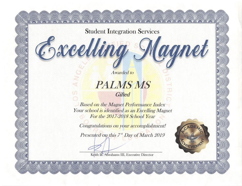 Palms MS Excelling Magnet Award