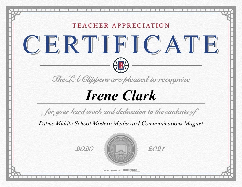 Irene Clark Teacher Appreciation Certificate