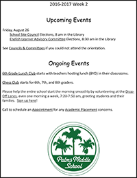 Friends of Palms weekly email